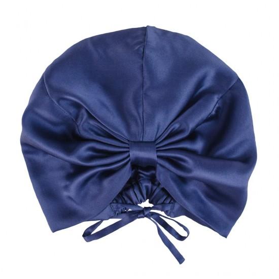 Шовкова чалма (тюрбан) для сну, Синя
