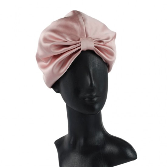 Silk turban (turban) for sleeping, Dark powder (pink)