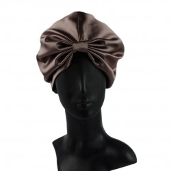 Silk turban (turban) for sleeping, Milk chocolate
