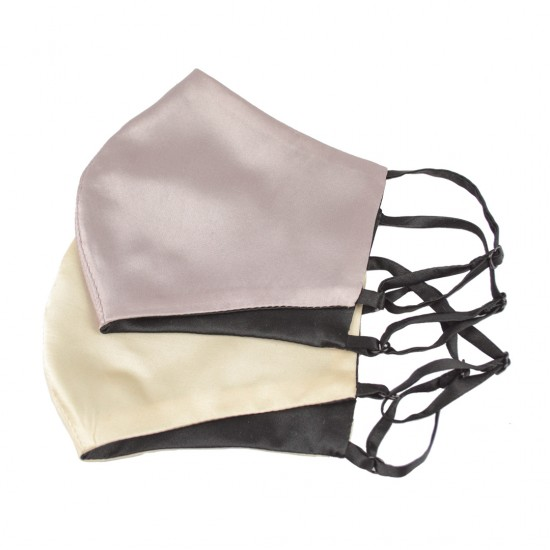 Двостороння двокольорова шовкова маска для обличчя, беж/чорна