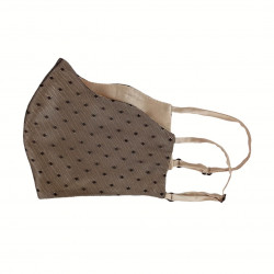 Silk face mask, beige with lace polka dot