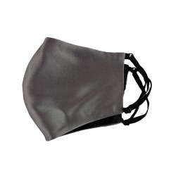 double-sided two-color silk face mask, Dark Grey / black