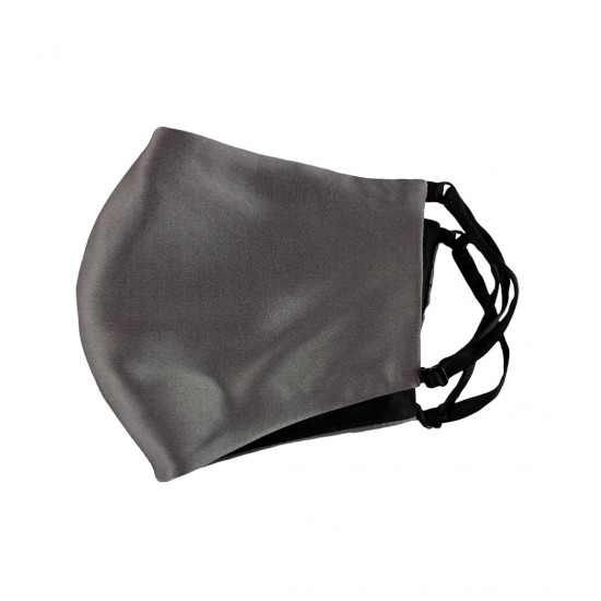 Двусторонняя двухцветная шелковая маска для лица, Dark Grey/черная