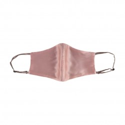double-sided two-color silk face mask, Dark powder (pink) / Latte