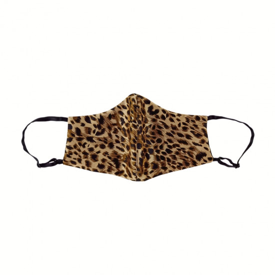double-sided two-color silk face mask, Leopard / black