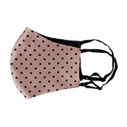 double-sided two-color silk face mask, Polka Dot/Black