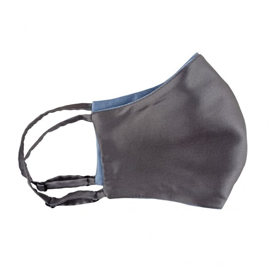 double-sided two-color silk face mask, Sky Blue/Dark Grey