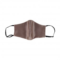 Double-sided two-color silk face mask, taupe / black