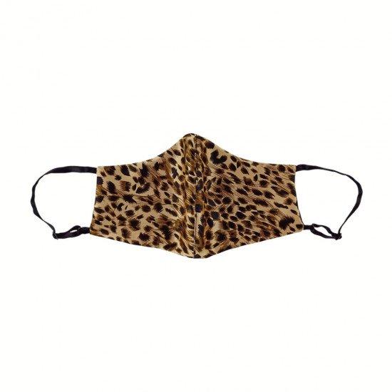 Двостороння двокольорова шовкова маска для обличчя, Leopard/чорна