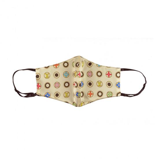Двусторонняя двухцветная шелковая маска для лица, LV/чорная