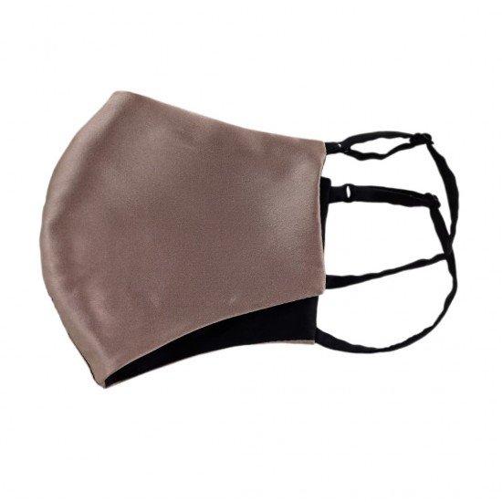 Двусторонняя двухцветная шелковая маска для лица, тауп/черная