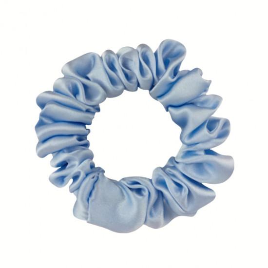 Шелковая резиночка для волос, узкая, Голубая