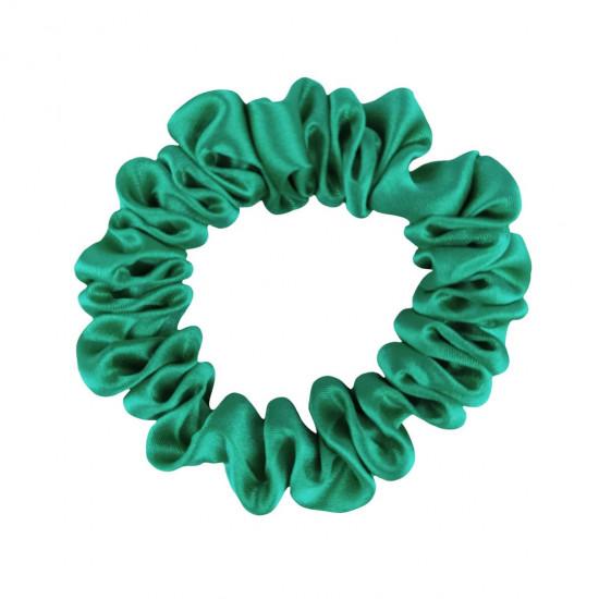 Шовкова резиночка для волосся, вузька, Яскраво зелена