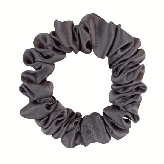 Шелковая резиночка для волос, узкая, Dark gray