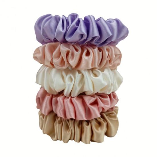 "Set ""Provence"" of five narrow silk scrunchies"