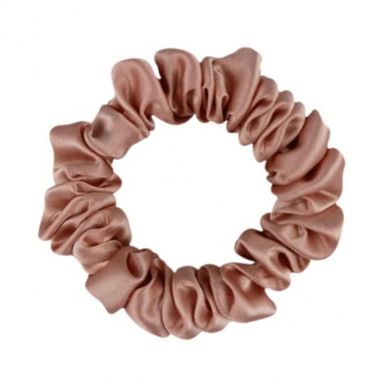 Шелковая резиночка для волос, узкая, Розово-бежевая