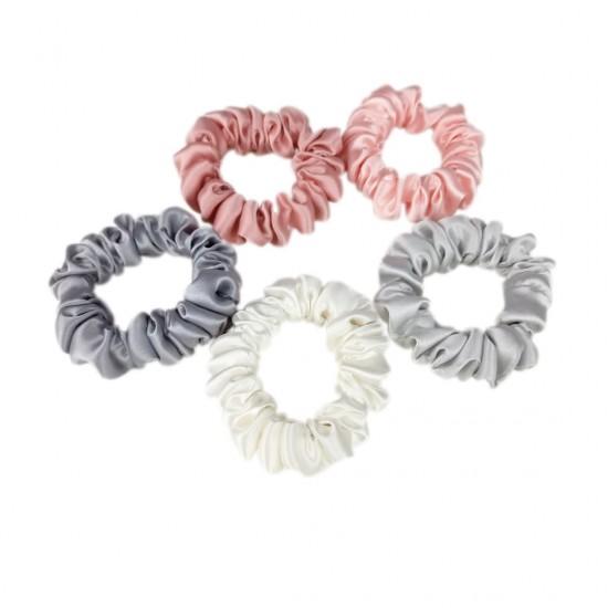 Flamingo - set of five narrow silk scrunchies
