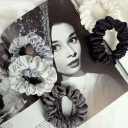 5 shades of gray - set of 5 narrow silk scrunchies