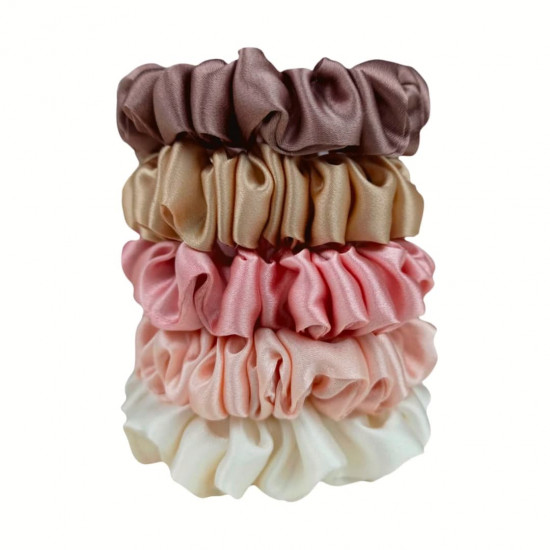 "Set ""Tenderness"" of five narrow silk scrunchies"