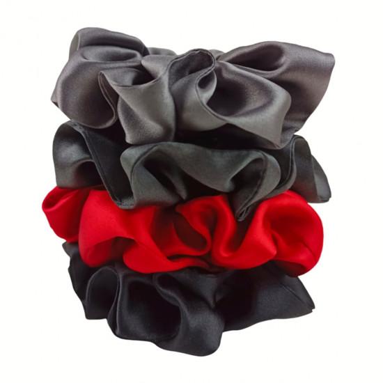 "Set ""Carmen "" of four  wide silk scrunchies"