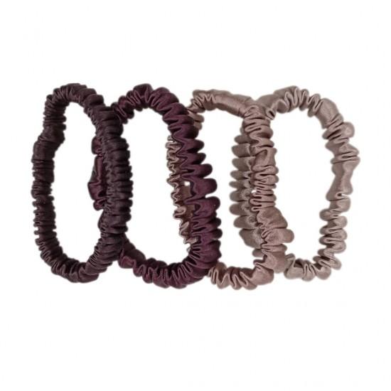 Набор шелковых резиночек для волос, Скинни, Горький шоколад, Вишня в шоколаде, Молочный шоколад, Латте