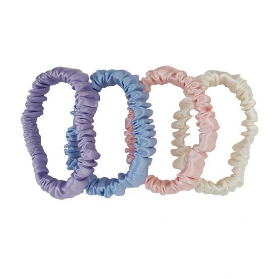 Набор шовкових резиночок для волосся, Скінні, Лавандова, Блакитна, Рожева, Молочна