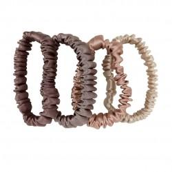 Набір шовкових резиночок для волосся, Скінні, Молочний шоколад, Латте, Rose Beige, Бежевий