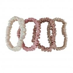 Набір шовкових резиночок для волосся, Скінні, Молочна, Темна пудра (рожевий), Rose beige, Бежева