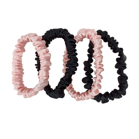 Набор шелковых резиночек для волос, Скинни, Розовые, Черные