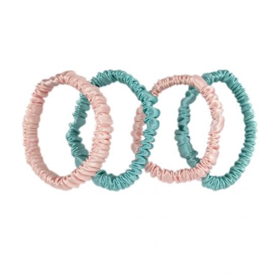 Набор шовкових резиночок для волосся, Скінні, Рожеві, М'ятні