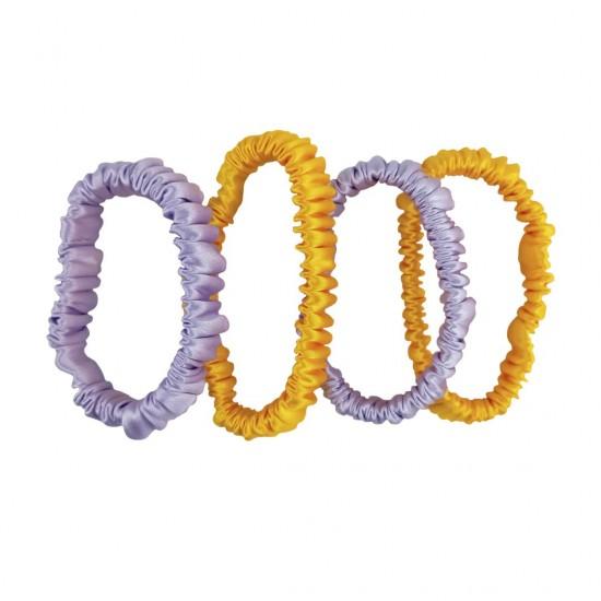 Набор шелковых резиночек для волос, Скинни, Солнечный желтый, Лавандовый