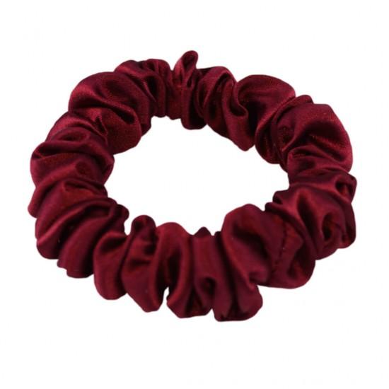 Narrow Silk scrunchie, with soft elastic band, Bordeaux