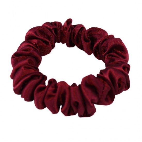 Шелковая резиночка для волос, узкая с мягкой резиночкой, в бордовом цвете
