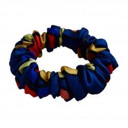 Narrow Silk scrunchie , with a soft elastic band, Peacock eye print