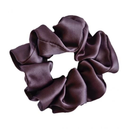 Шелковая резиночка для волос, широкая, Брауни