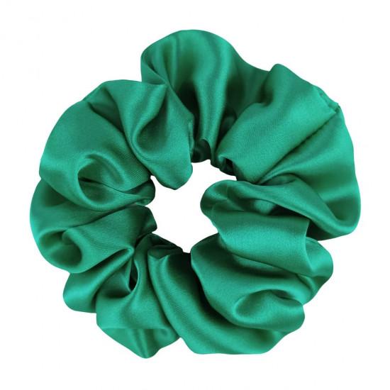 Шовкова резиночка для волосся, широка, Яскраво зелена