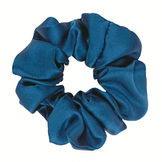 Шелковая резиночка для волос, широкая, Синяя