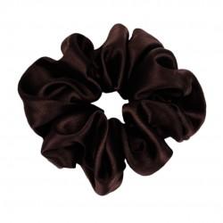 Wide Silk scrunchie, Dark chocolate