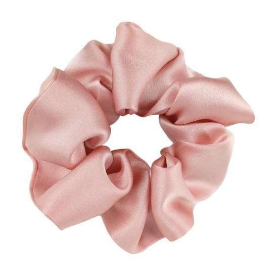Шовкова резиночка для волосся, широка, Темна пудра (Рожевий)