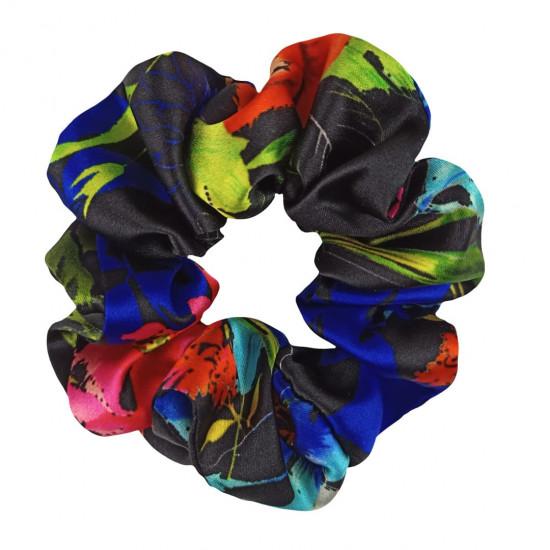 Wide Silk scrunchie, DG print