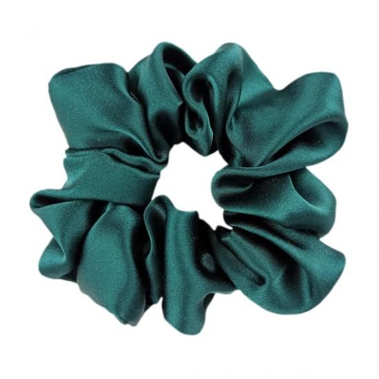 Wide Silk scrunchie, Emerald