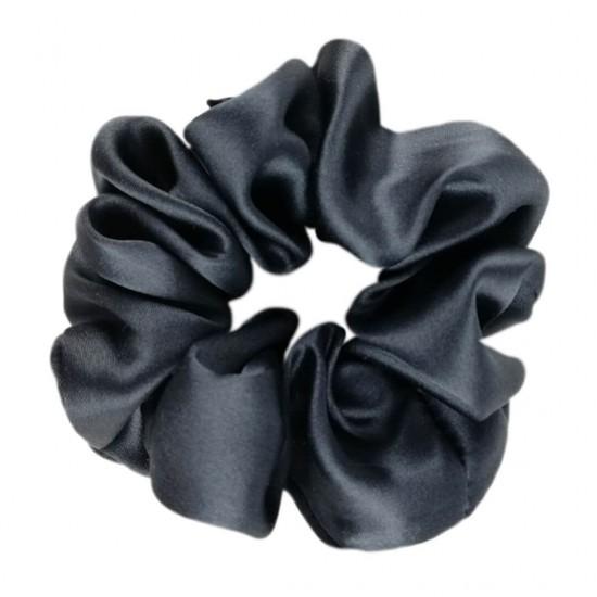 Wide Silk scrunchie, Carbon