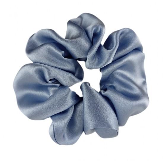 Шовкова резиночка для волосся, широка, сіро-блакитна