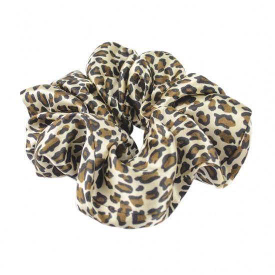 Шелковая резиночка для волос, широкая, принт Leopard