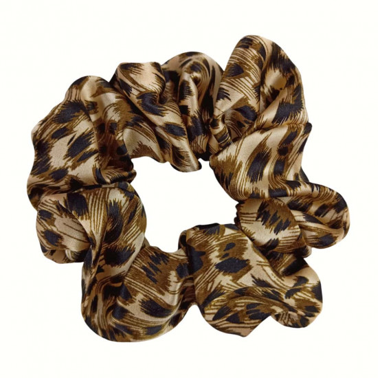 Wide Silk scrunchie,  Leopard