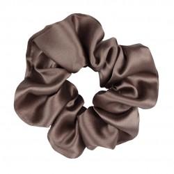Шовкова резиночка для волосся, широка, Молочний шоколад