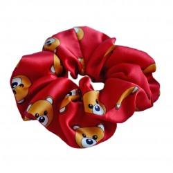 Шелковая резиночка для волос, широкая, принт Toy Bear Red