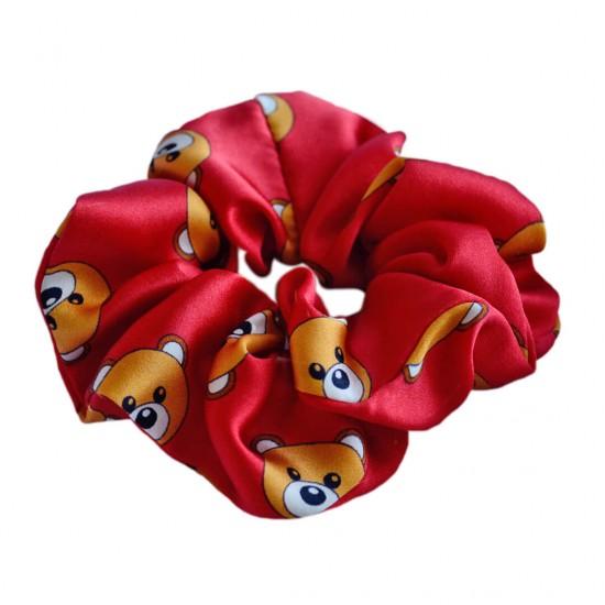 Шовкова резиночка для волосся, широка, принт Toy Bear Red