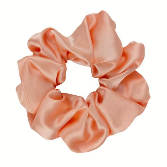 Шелковая резиночка для волос, широкая, Яркий персик