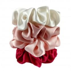 """Blossom"" set of four wide silk scrunchies"